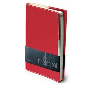 Ежедневник недатированный Metropol, А5, красный, бежевый блок, металлический шильдик, без обреза