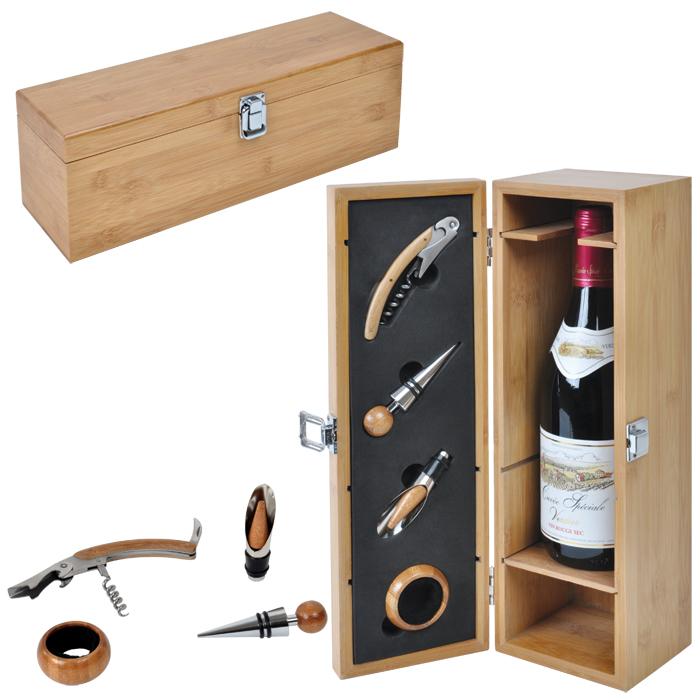 Фотография товара Футляр для бутылки с винными принадлежностями (4 предмета); 36х11,5х12 см; дерево, металл