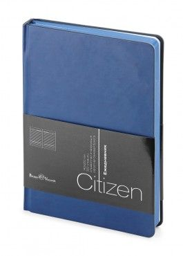 Ежедневник недатированный New Citizen, А5, синий, белый блок, синий обрез, ляссе