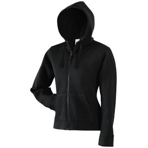 "Толстовка ""Lady-Fit Hooded Sweat Jacket"", черный_L, 75% х/б, 25% п/э, 280 г/м2"