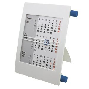 Календарь настольный на 2 года; белый с синим; 18х11 см; пластик; тампопечать, шелкография