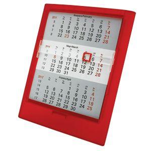 Фотография товара Календарь настольный на 2 года ; прозрачно-красный; 12,5х16 см; пластик; тампопечать, шелкография