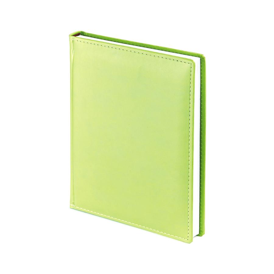Ежедневник недатированный Velvet, А6+, салатовый, белый блок, без обреза, ляссе
