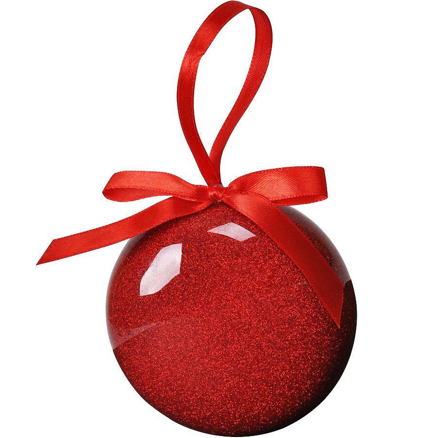 Елочное украшение «ШАР», плоский, красный, пластик, D8 см,
