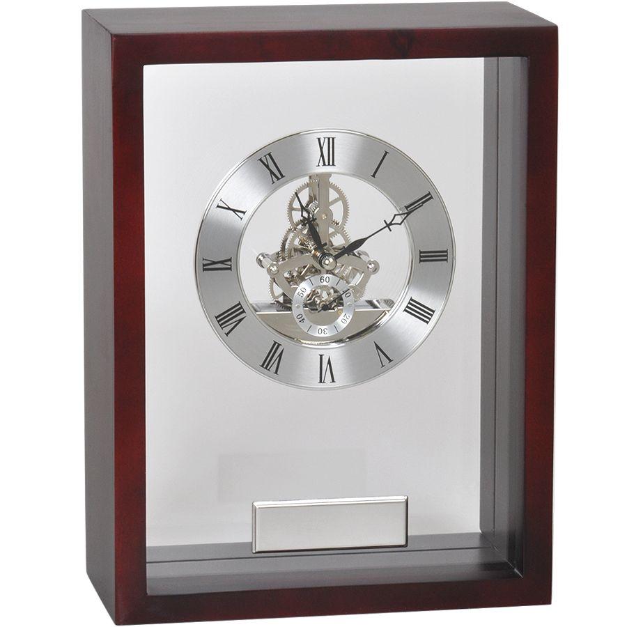 Часы наградные «Скелетон» с шильдом;   21х28 см, дерево/металл/стекло; лазерная гравировка