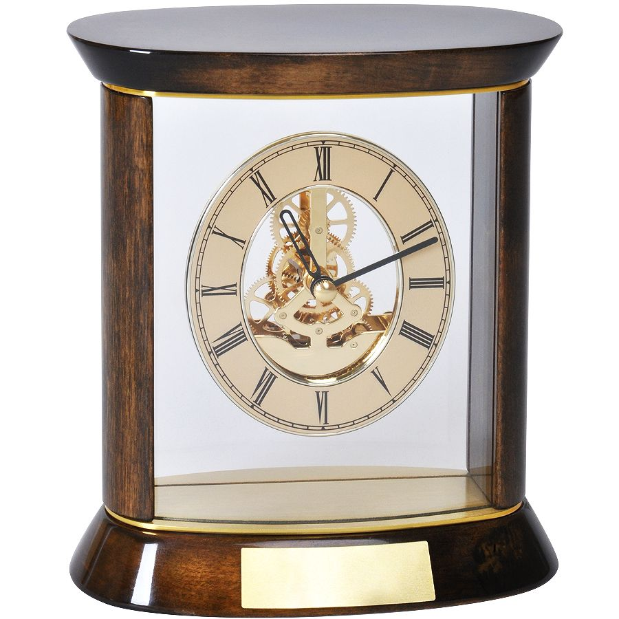 Часы наградные «ПРЕМИУМ» с шильдом;   19,5х20 см, дерево/металл/стекло; лазерная гравировка