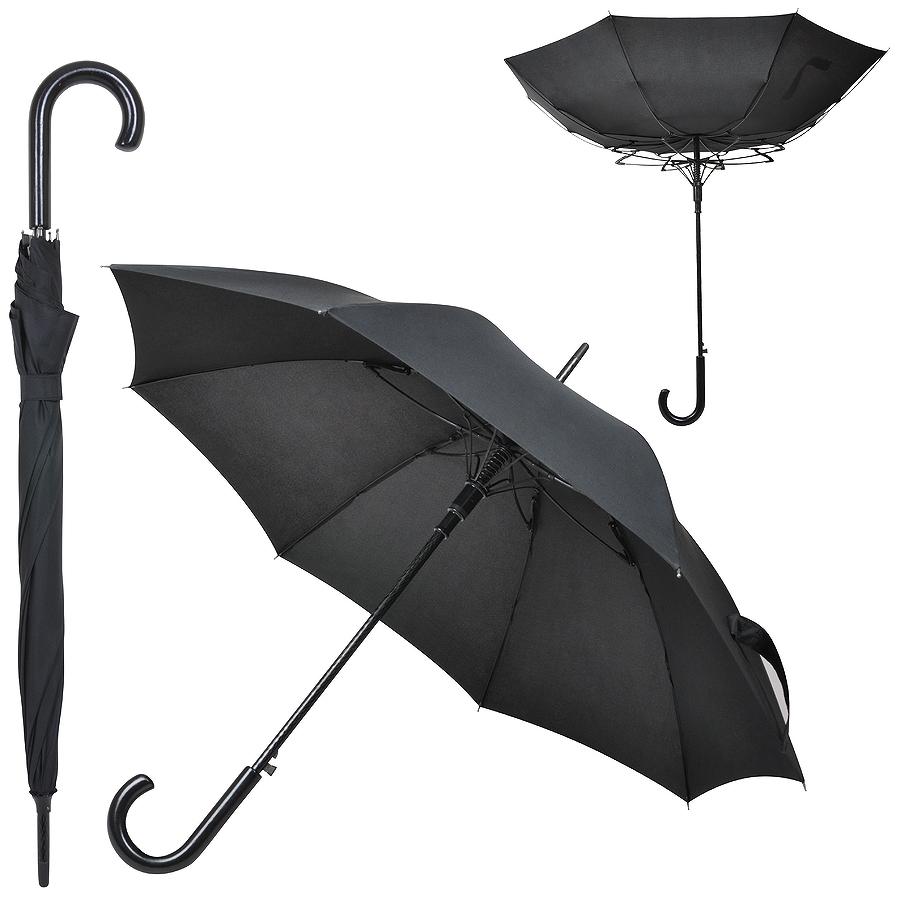 Зонт-трость «Anti Wind», полуавтомат, деревянная ручка, черный; D=103 см