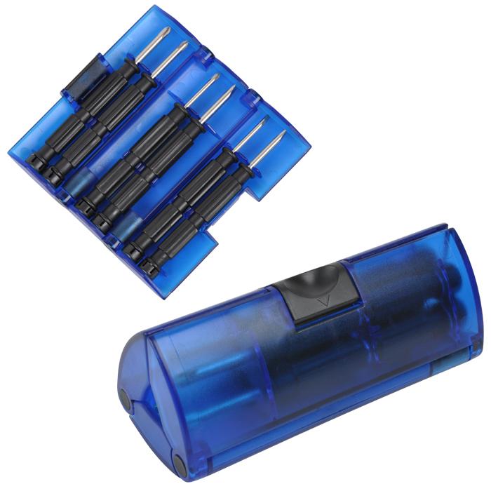 Набор отверток; синий; 9,5х4х4 см; пластик, металл; тампопечать