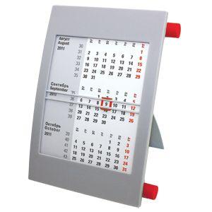 Календарь настольный на 2 года; серый с красным; 18х11 см; пластик; шелкография, тампопечать