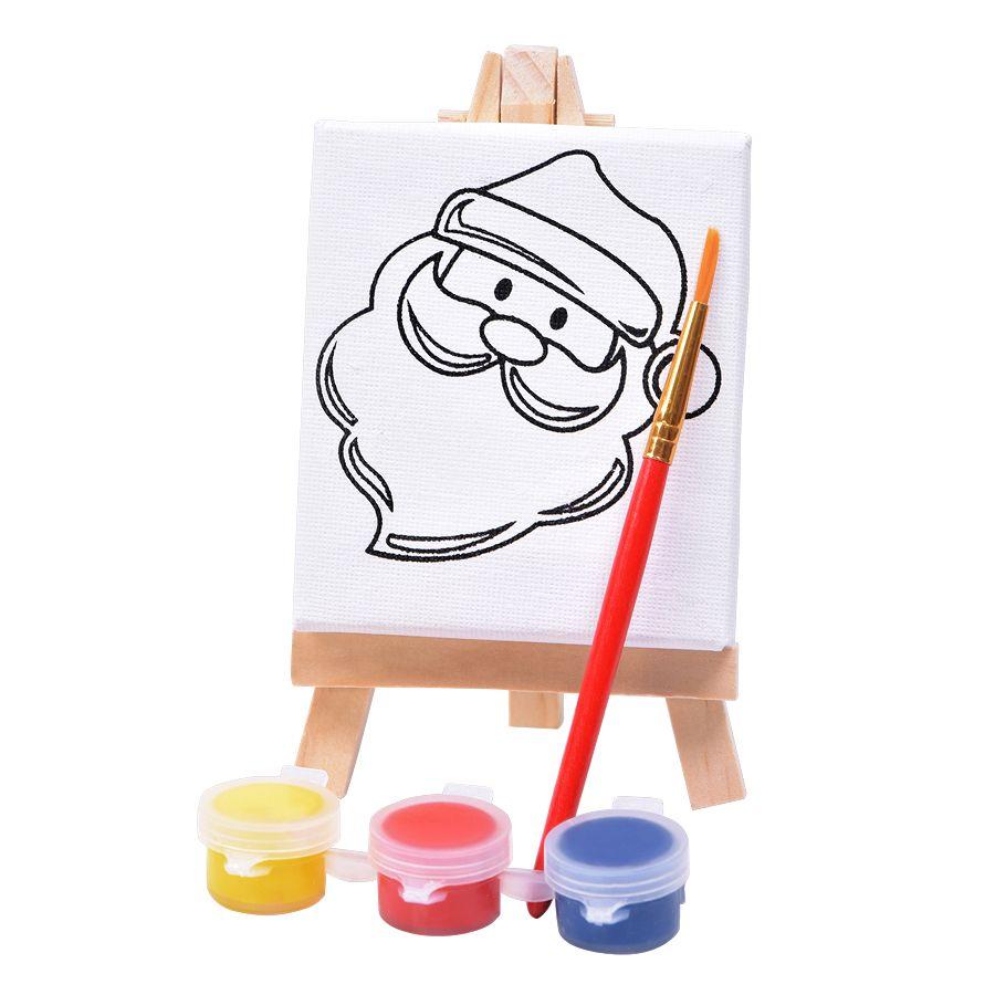 Фотография товара Набор для раскраски «Дед Мороз»:холст,мольберт,кисть, краски 3шт, 7,5х12,5х2 см, дерево, холст