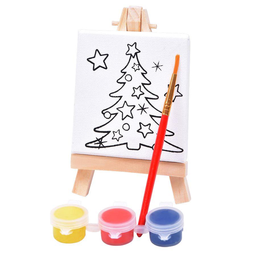 Фотография товара Набор для раскраски «Ёлочка»:холст,мольберт,кисть, краски 3шт, 7,5х12,5х2 см, дерево, холст