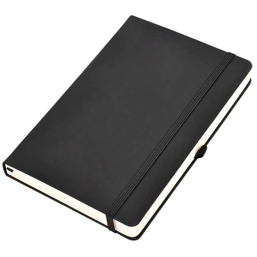 Бизнес-блокнот А5  «Silky», черный,  твердая обложка,  в клетку