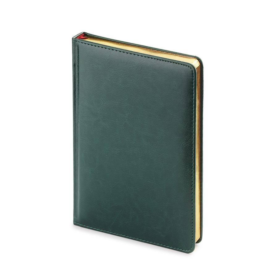 Ежедневник недатированный Sidney Nebraska, А5, зеленый, белый блок, золотой обрез