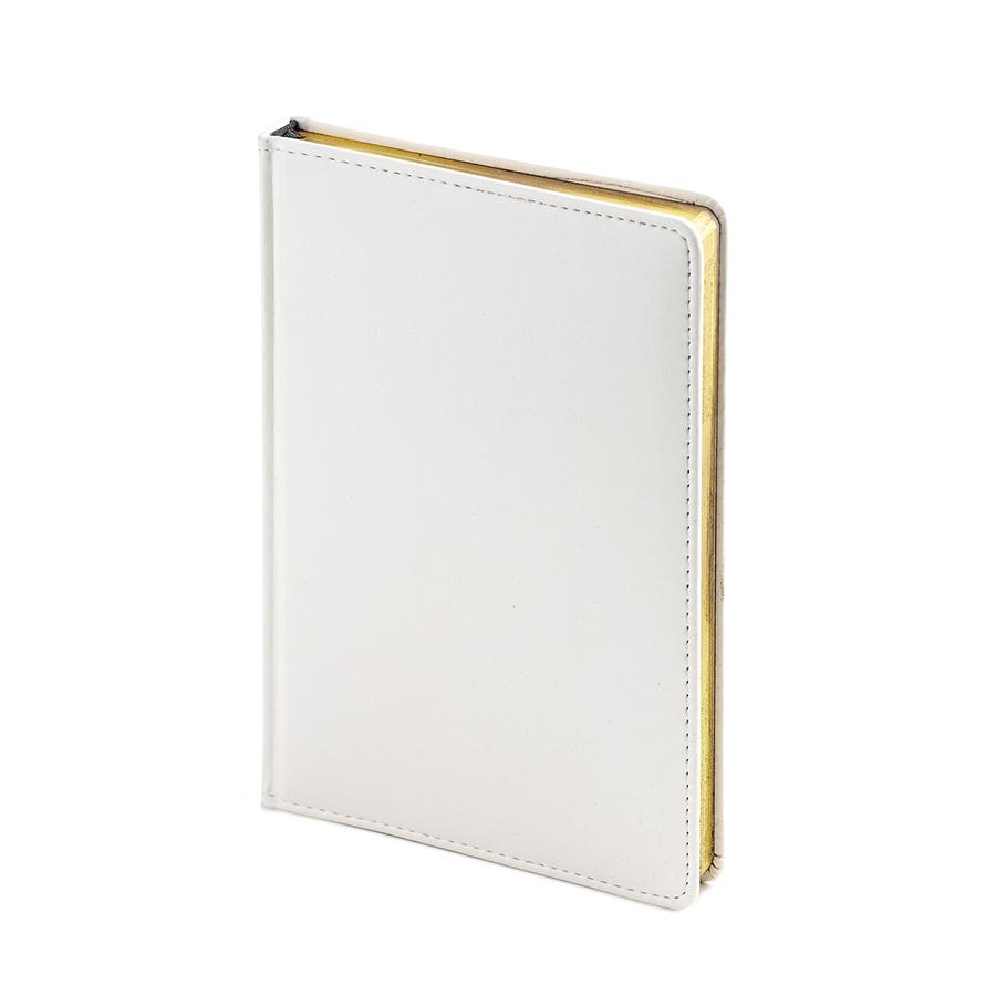 Ежедневник недатированный Sidney Nebraska, А5, белый, белый блок, золотой обрез, ляссе