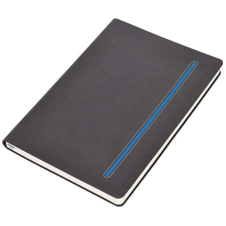 Фотография товара Бизнес-блокнот А5  «Elegance»,  серый  с синей вставкой, мягкая обложка,  в клетку