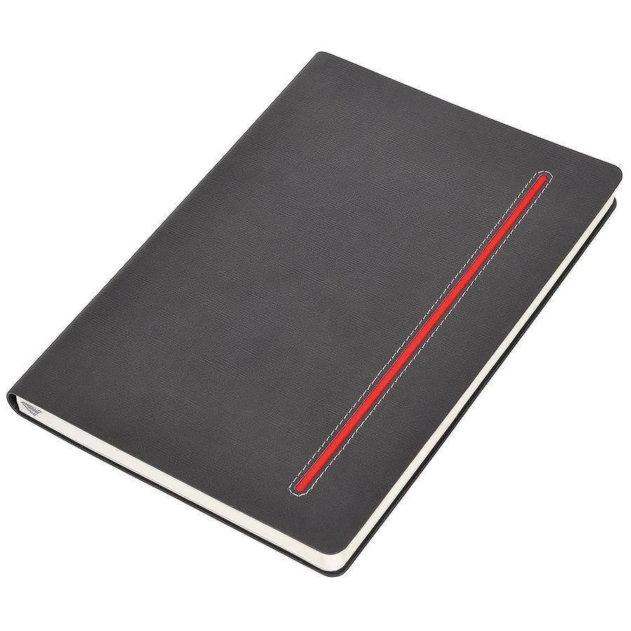 Фотография товара Бизнес-блокнот А5  «Elegance», серый  с красной вставкой, мягкая обложка,  в клетку