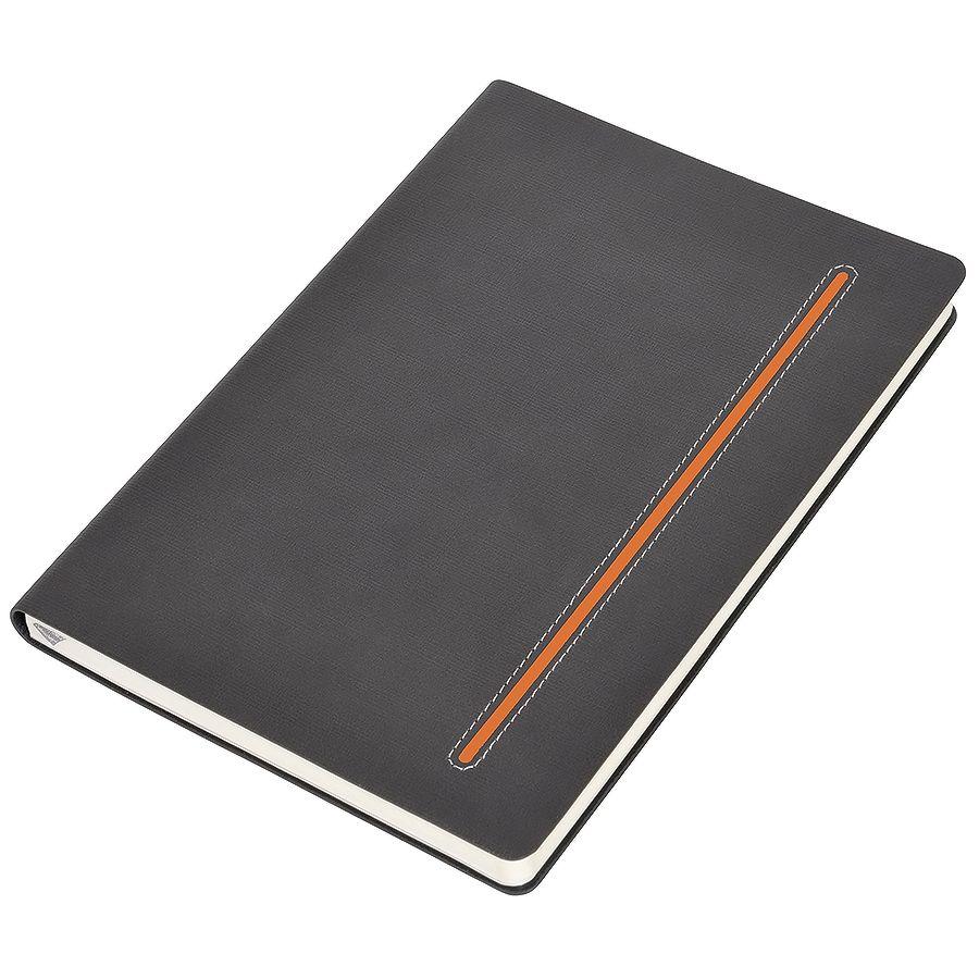 Фотография товара Бизнес-блокнот А5  «Elegance»,  серый  с оранжевой вставкой, мягкая обложка,  в клетку