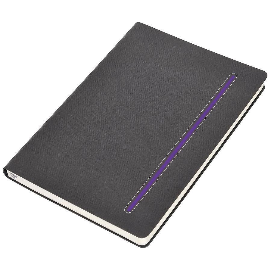 Фотография товара Бизнес-блокнот А5  «Elegance»,  серый  с фиолетовой вставкой, мягкая обложка,  в клетку