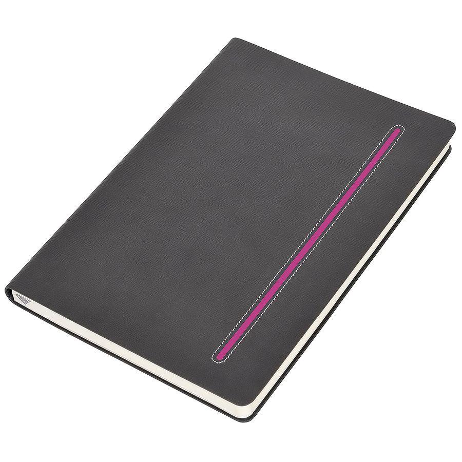 Фотография товара Бизнес-блокнот А5  «Elegance», серый  с розовой вставкой, мягкая обложка,  в клетку