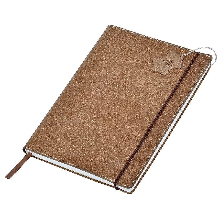 Фотография товара Бизнес-блокнот А6  «Indi»  в клетку, 160 стр,  коричневый, рециклированная кожа