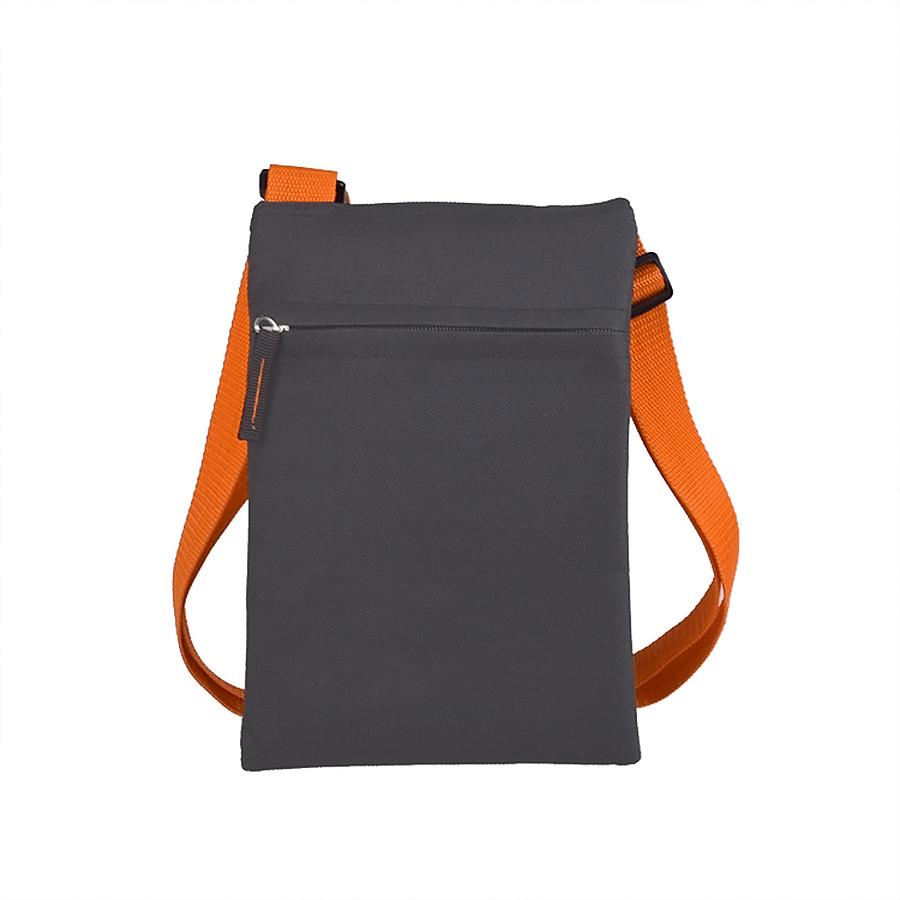 Сумка для документов «ACTIVE» с карманом на молнии,  серый/оранжевый, 18х24 см, полиестер