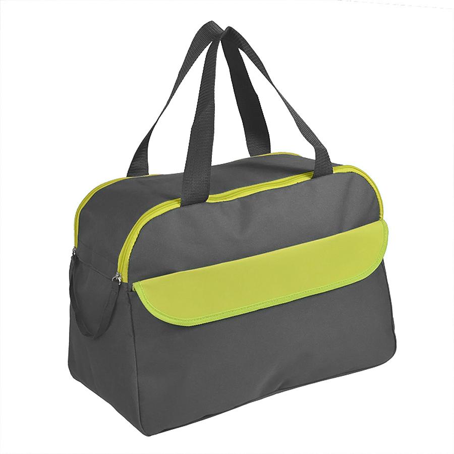 Сумка дорожная/спортивная «ACTIVE» с 2 карманами,  зеленый, 45х31х22 см, полиестер,  шелкография