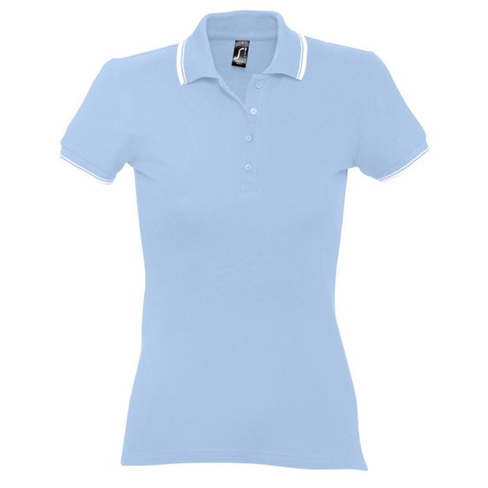 "Поло ""Practice Women"" голубой с белым_L, 100% х/б, 270г/м2"