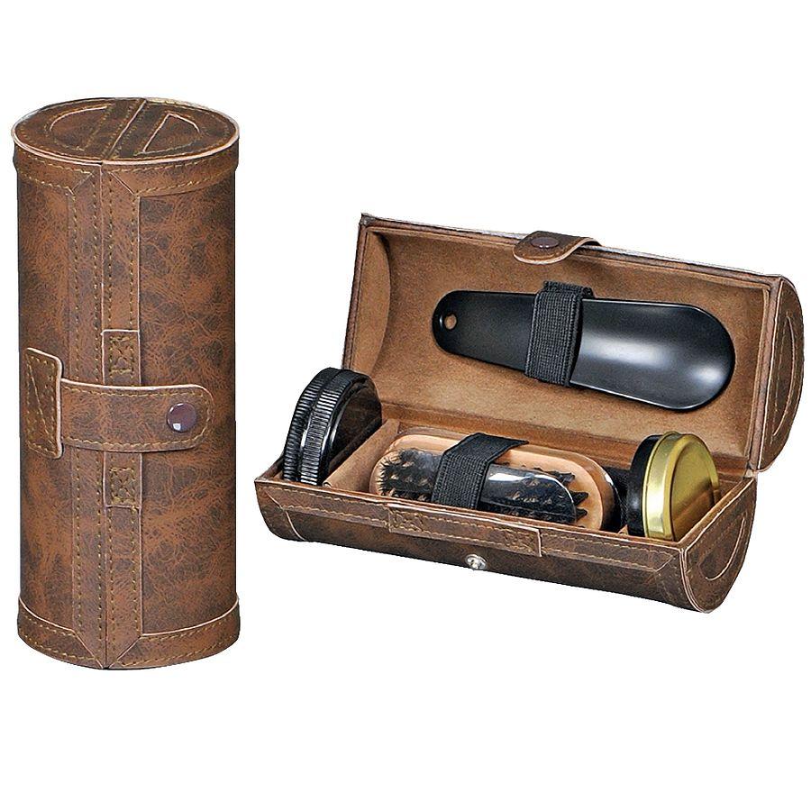 Набор для  обуви «Блеск» в тубусе: ложка, щетка, крем, ткань для полировки, иск. кожа, лазерн.гр