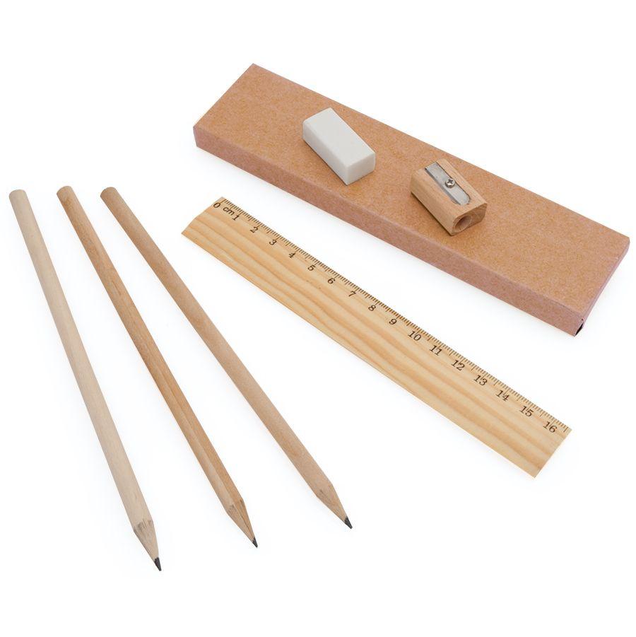Набор «Line»:карандаш простой (3шт.),линейка,точилка и ластик,4,5х17,7х1,3см, дерево,картон,резина