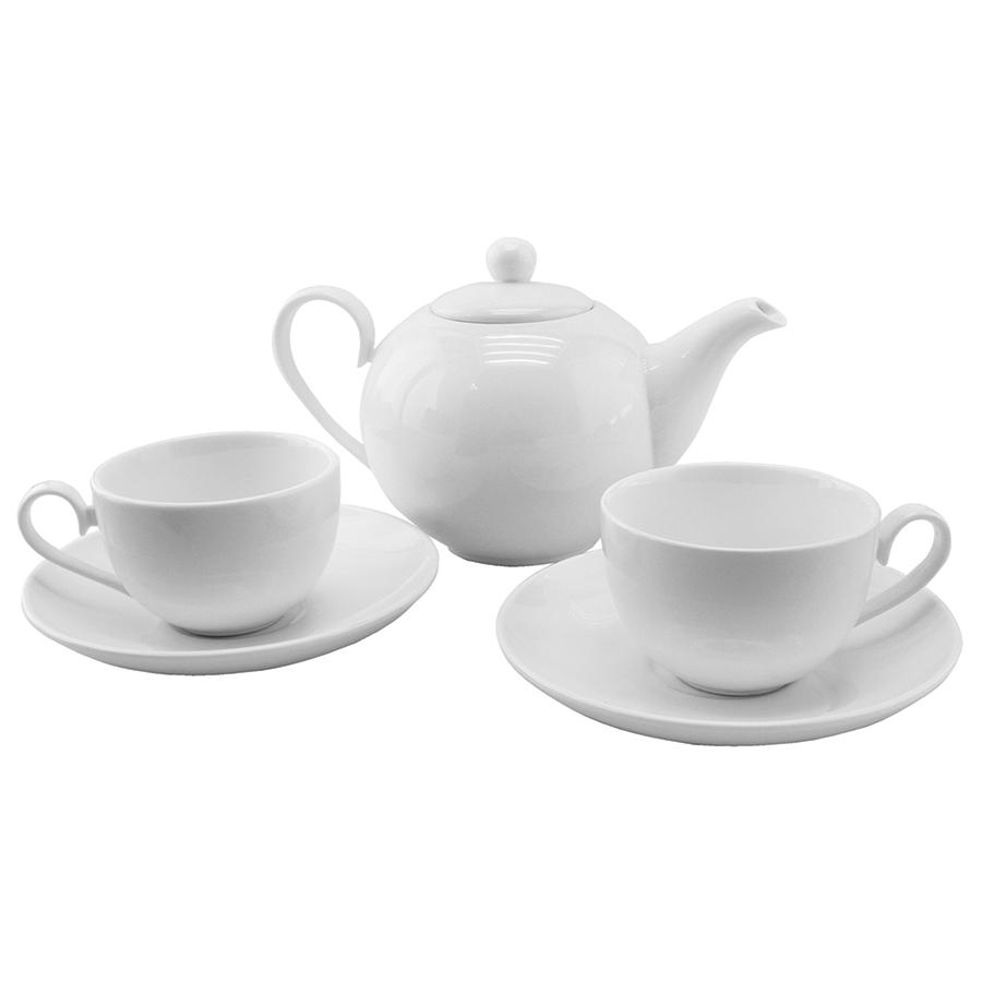 """Чайный набор """"Five o`clock"""":чайник и две чайные пары; 35,5х18,5х12,5см, 650мл, 190мл; фарфор; деколь"""