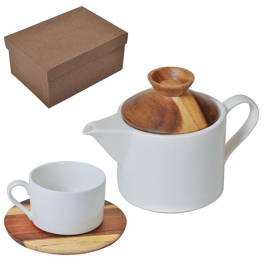 """Набор """"Andrew"""":чайная пара и чайник в подарочной упаковке,28,5х18,5х11см,200 мл и 600 мл,фарфор,дере"""