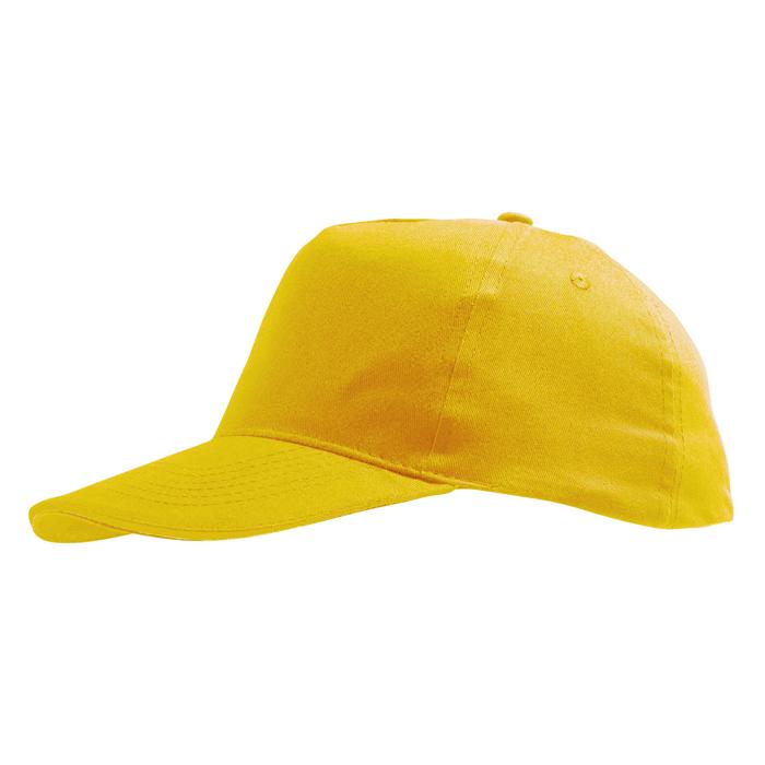 Бейсболка «Sunny» 5 клиньев, солнечно-желтый, 100% хлопок, 180г/м2