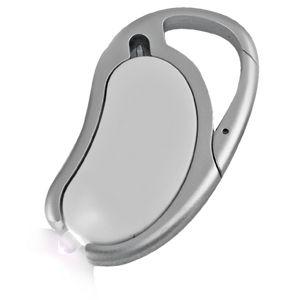 Авторучка с фонариком на карабине; белый; 7,5х4,3х0,8 см; пластик; тампопечать