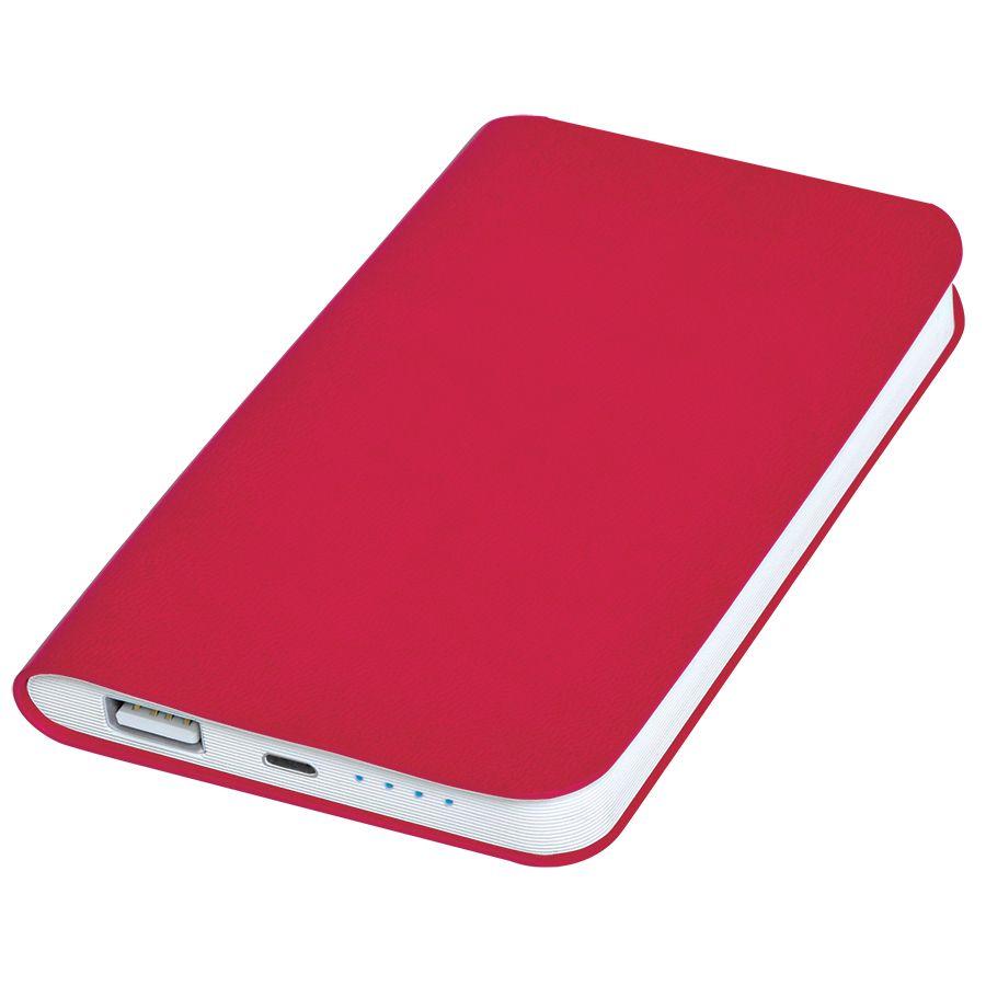 Универсальное зарядное устройство «Silki» (4000mAh),красный, 7,5х12,1х1,1см, искусственная кожа,плас