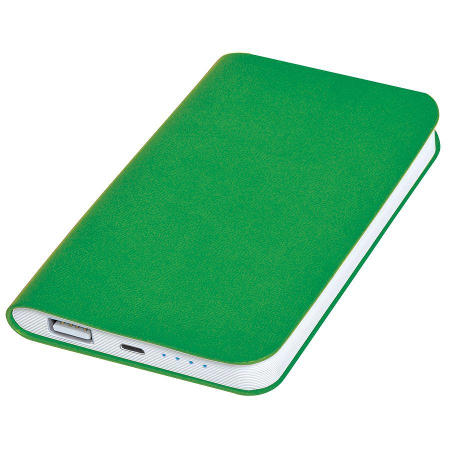 Универсальное зарядное устройство «Silki» (4000mAh),зеленый, 7,5х12,1х1,1см, искусственная кожа,плас