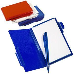 Блокнот для записей с авторучкой; синий; 10,5х7,9х1,1 см; пластик; тампопечать