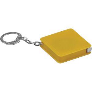 Брелок-рулетка (1 м); желтый; 4х4х1 см; пластик; тампопечать