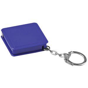 Брелок-рулетка (1 м); синий; 4х4х1 см; пластик; тампопечать