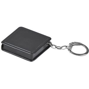 Брелок-рулетка (1 м); черный; 4х4х1 см; пластик; тампопечать