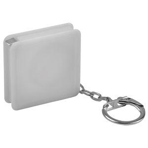 Брелок-рулетка (1 м); белый; 4х4х1 см; пластик; тампопечать