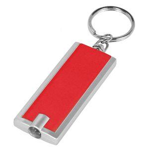 Брелок-фонарик со светодиодом; красный; 6х2,3х1 см; пластик; тампопечать