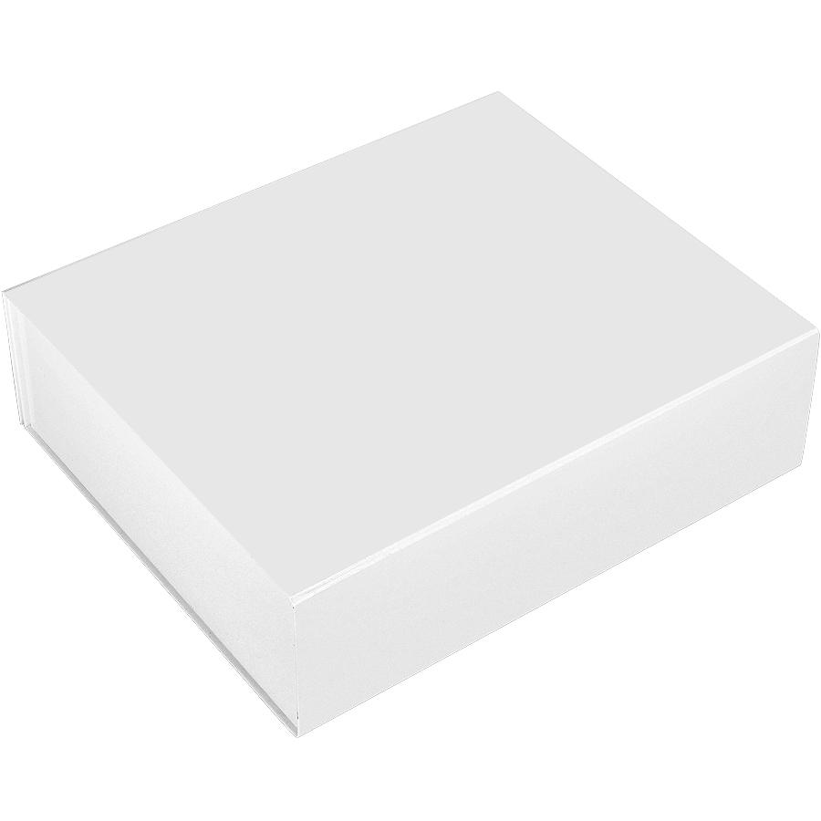 Коробка подарочная складная,  белый, 37х30х11 см,  кашированный картон, тиснение
