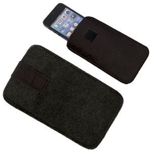 Футляр  для мобильного телефона «Felt», черный, 8,5х14х0,6см, фетр