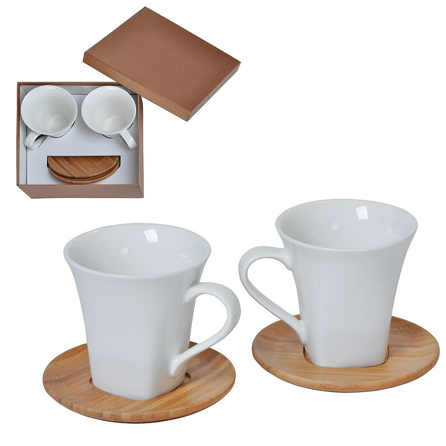 Набор «Натали»: две чайные пары в подарочной упаковке, 19,5х19х9см, 200мл, фарфор, бамбук