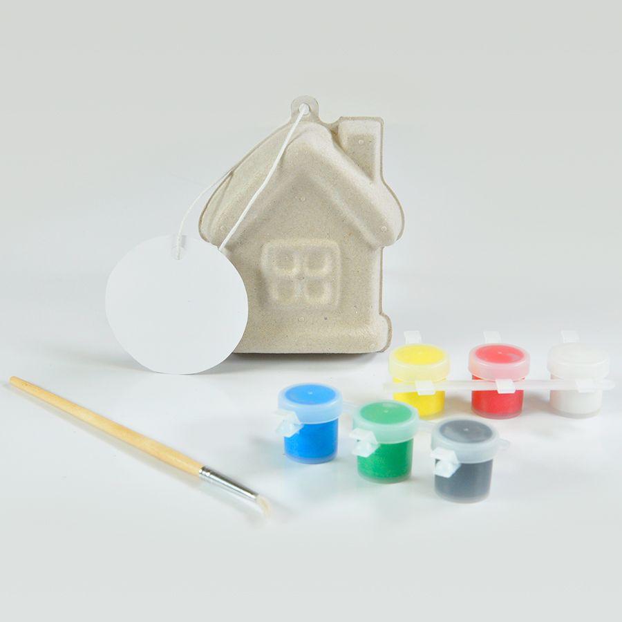 Набор для раскраски «ДОМИК»,  игрушка елочная, кисть, краски,  папье-маше