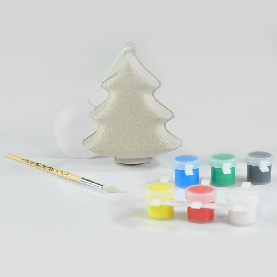 Фотография товара Набор для раскраски «ЕЛКА»,  игрушка елочная, кисть, краски,  папье-маше