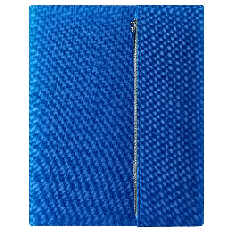 Папка А4  «PATRIX»  с блокнотом и карманом  на молнии, синяя, микрофибра