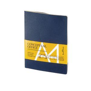 Блокнот Conceptual office, синий, А4, бежевый блок, без обреза, клетка, 60 листов