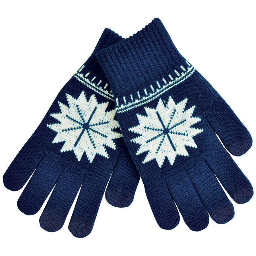 Перчатки для сенсорных экранов «СНЕЖИНКА», темно-синий, М, акрил, шеврон