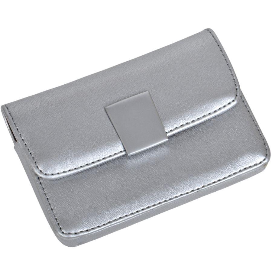 Фотография товара Футляр для визиток «ШАРМ»; серебристый; 10х6,5х3 см; искуccтвенная кожа; лазерная гравировка